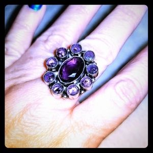 Beautiful Sterling Silver Amethyst Ring.